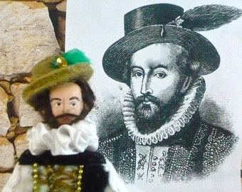Tudor History Art Doll Sir Walter Raleigh Miniature Collectible