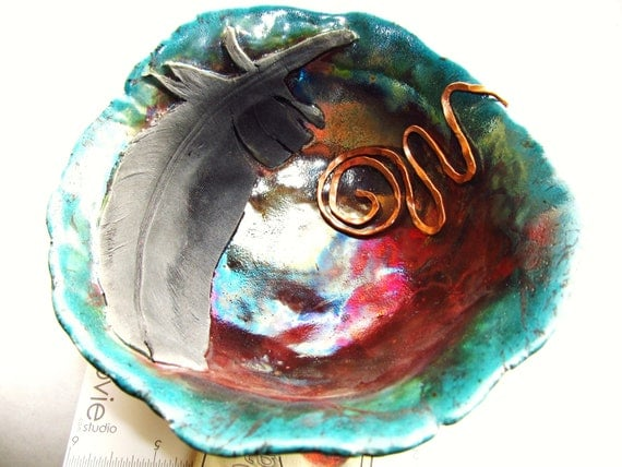 Ceramics and Pottery Bowl - Raku Pottery Turquoise Feather  Dish - Hammered Copper Adorned