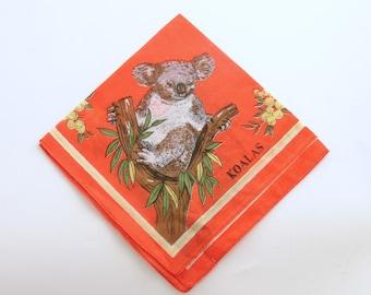 Vintage Hankie Handkerchief Koala Bear Australia