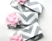 Bridesmaid Clutch Set, Chevron Wedding Purse, Gray and Pink, Personalized Flower Colors