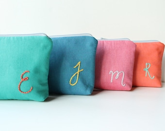Monogram Makeup Bags for Personalized Bridesmaid Gift Set of 7