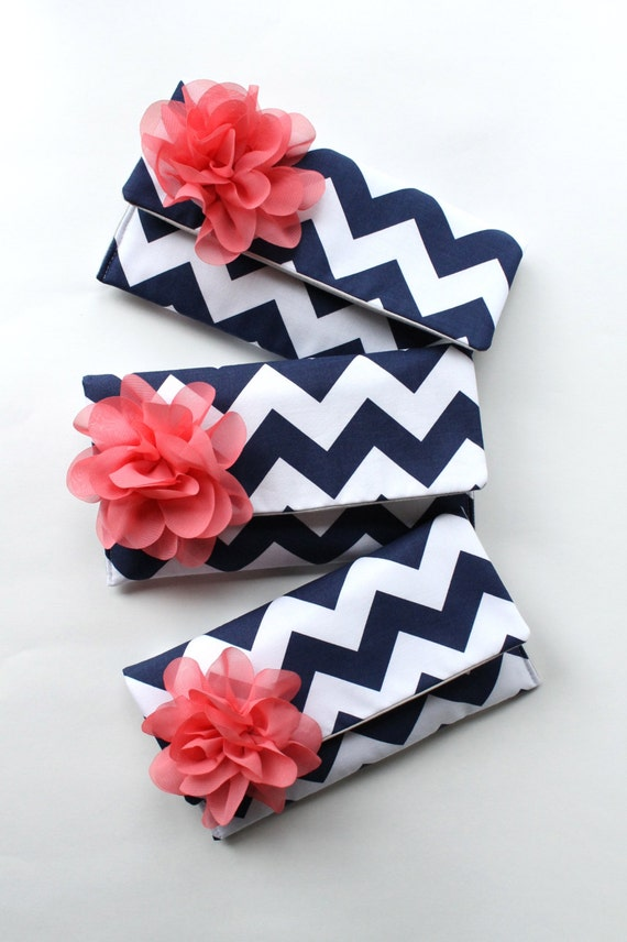 Navy and Coral Bridesmaid Clutch Set with Personalized Colors Available