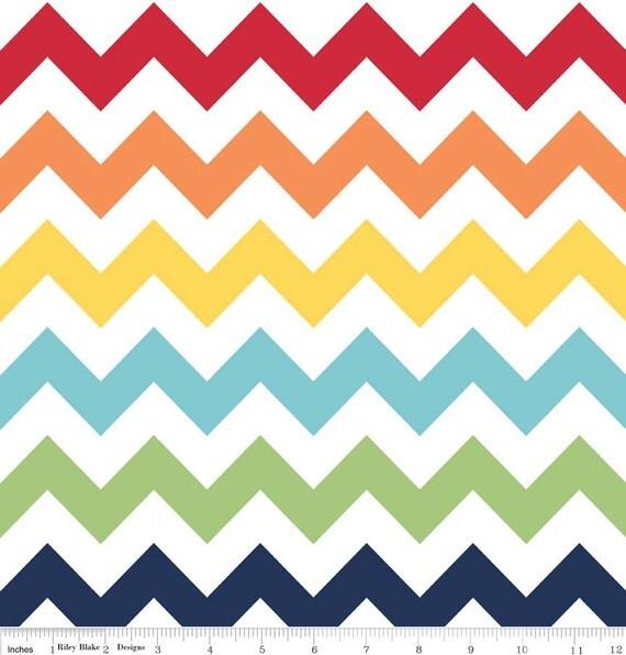 Riley Blake Medium Chevron in Rainbow Cotton Quilting Fabric Fat Quarter