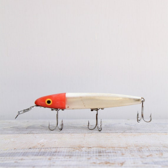 Items similar to on sale giant vintage fishing lure on etsy for Vintage fishing lures for sale