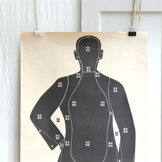 Giant Vintage Paper Target /  Poster, Man, Halloween, Black and White Decor