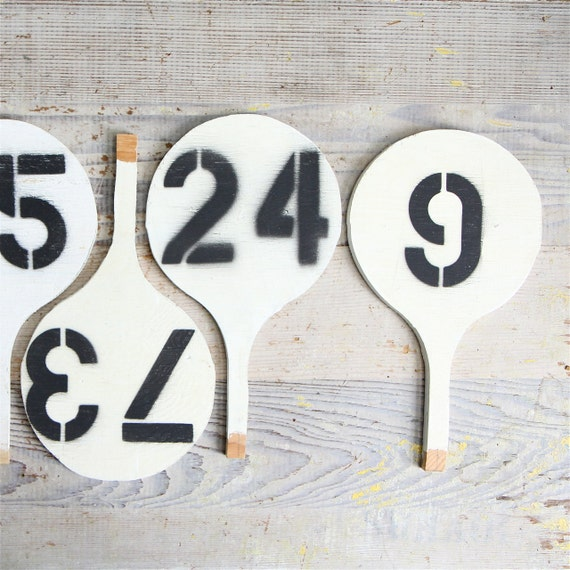 Vintage auction paddle vintage number sign 80 for Vintage sites like etsy