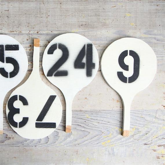Vintage auction paddle vintage number sign 80 for Vintage sites like etsy