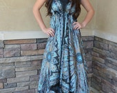 Silky Maxi Boho Scarf Dress Size Miss One Size 0-12 Turquoise and Black