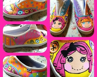Girl's Custom Painted Tennis Shoes LALALOOPSY INSPIRED Any Size