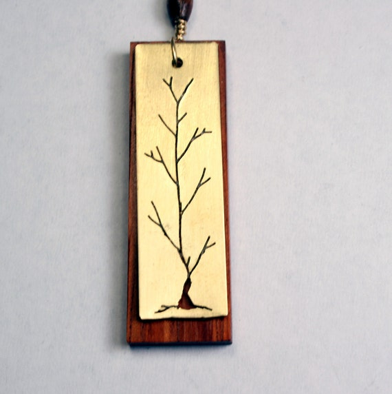 Tree Necklace, Woodland and Bohemian Handmade Necklace, wood and brass