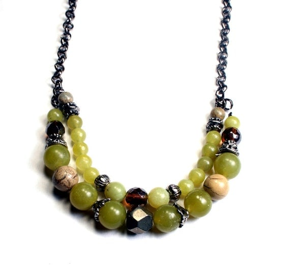 Strand Necklace - Olive Jade Double Strand Necklace