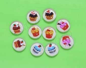 10pcs handmade assorted cupcake clear glass dome cabochons 12mm (12-0206)