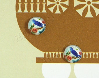 Sale - 10pcs handmade blue bird round clear glass dome cabochons 12mm (12-0281)