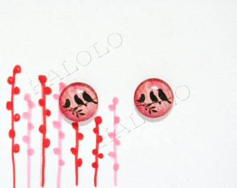 Sale - 10pcs handmade three birds silhouette on red  background round clear glass dome cabochons 12mm (12-0267)