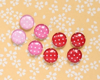 Sale - 8pcs handmade colors of passion red and pink round clear glass dome cabochons 12mm (12-0600)