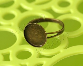 10pcs antique bronze finish adjustable ring bezel blanks - for 12mm Cabochons R09