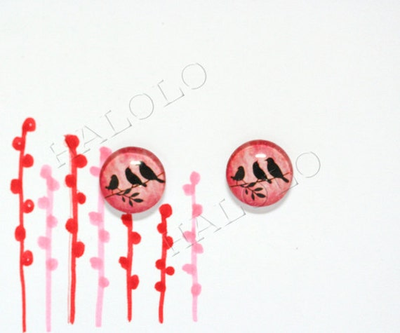10pcs handmade three birds silhouette on red  background round clear glass dome cabochons 12mm (12-0267)