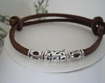 Tibetan SIlver Brown Leather Wrap Bracelet  Cuff