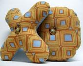 Sale - Blue & Gold Decorative XO Kiss and Hug Fabric Letter Set
