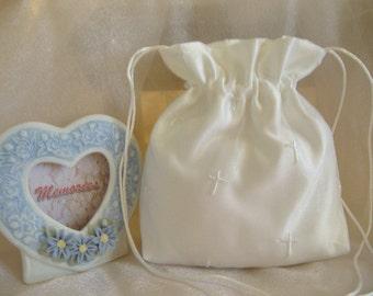 WEDDING, BRIDAL WHITE Drawstring Bag, Embroidered Cross Organza, Keepsake/Heirloom Bag, MONeY Bag, Confirmation Bag, Wedding Accessory