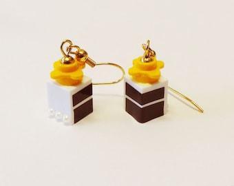 Mini Chocolate Cake Slice Dangle Earrings