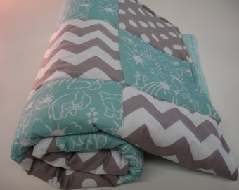 Elephants You Are My Sunshine in Aqua and Gray Chevron and Dots  Minky Blanket You Choose Size MADE TO ORDER No Batting