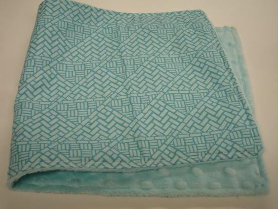 Cobblestone Baby Burp Cloth in Aqua with Minky