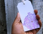 Luggage Tags - Tie on string fastener - Henna Pink and Blue Design - Set of 5