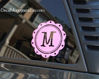 Scallop Initial Vinyl Wall Decal 5 inch Car Size