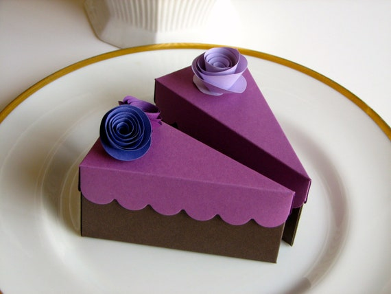 Etsy Cake Favor Boxes : Items similar to cake slice favor boxes purple on etsy