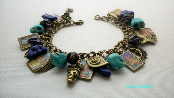 Tarot Cards Morgan Greer Pictures Antiqued Bronze Tone  Charm Bracelet