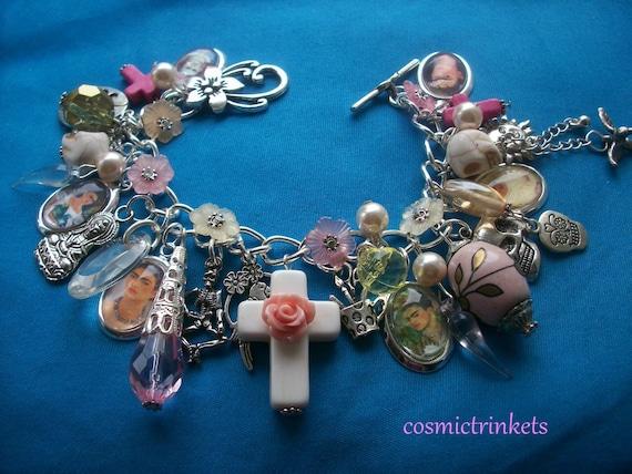 Frida Kahlo Glass Pictures Charm Bracelet