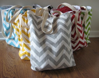 Bridesmaid Totes -  9 Small Chevron Beach Totes - Maid of Honor Gifts - Welcome Bags & Wedding Favors