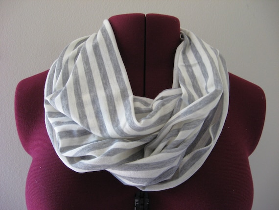Bridesmaid Gifts - 4 Infinity scarves gray/natural stripe, Fall Fashion