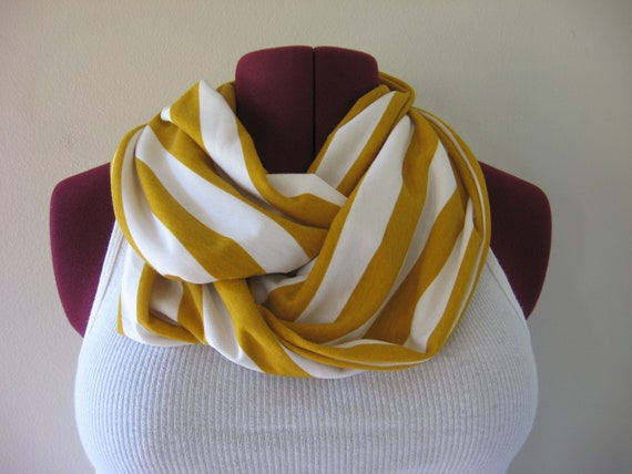 Mustard and Ivory Stripe Infinity Scarf - Circle Scarf - Fall Fashion