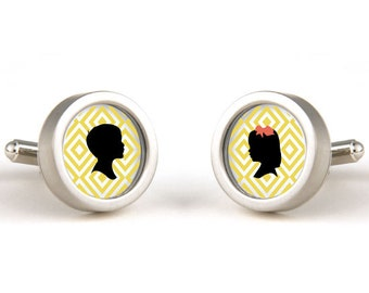 Silhouette Cuff Links, Gift for Dad, Gifts for Him, Silhouette Jewelry, Yellow, Wedding Gift