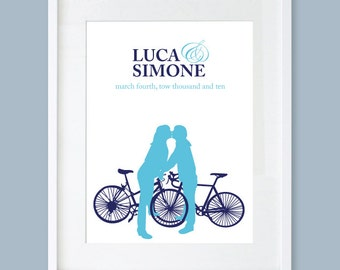 Personalized Couples Art - Wedding Gift - Silhouette - Couple on Bikes