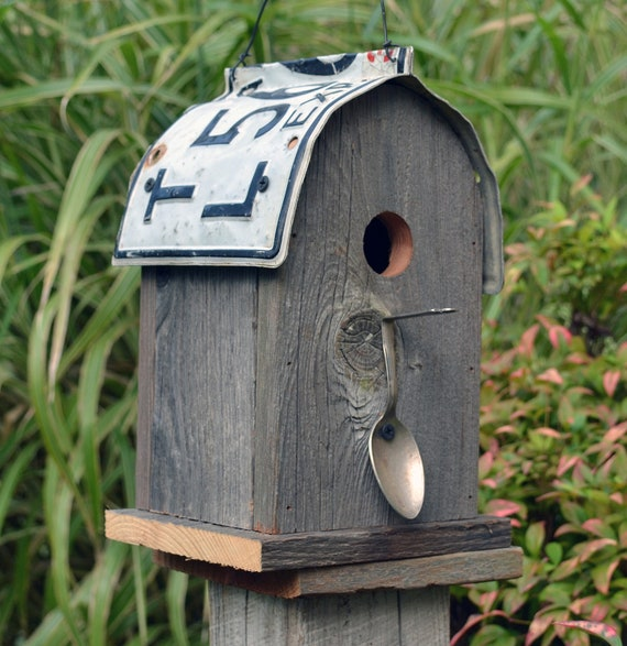 Rustic Birdhouse Round Roof Recycled License Plate