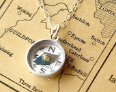 Vintage Compass Necklace, Vintage Sterling Silver Chain Necklace