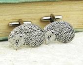 Hedgehogs Cufflinks. Antiqued Silver Pewter Cufflinks
