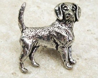 Beagle Tie Pin. Antiqued Pewter Tie Tack Pin