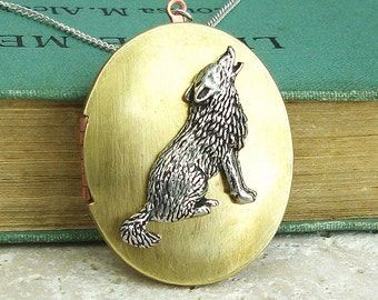 Wolf Locket Necklace. Antiqued Silver Pewter and Vintage Brass Locket Necklace