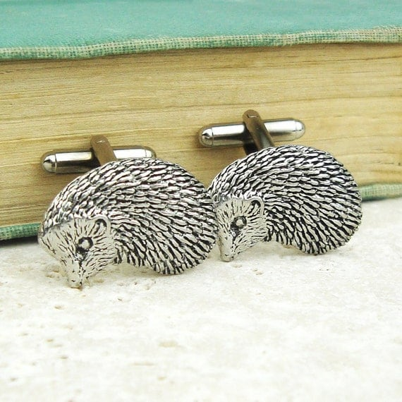 Hedgehogs Cufflinks. Antiqued Silver Pewter Cufflinks