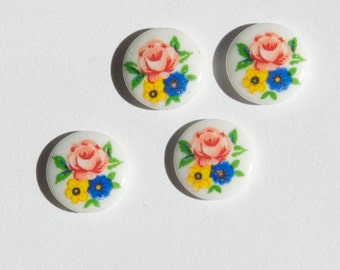 Vintage Pink Yellow Blue Flower Bouquet Glass Cabochons Japan 10mm cab420N
