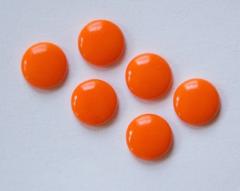 Vintage Opaque Orange Glass Cabochons 9mm cab195
