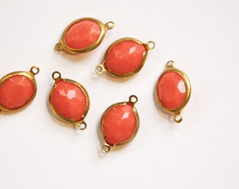 Vintage Acrylic Faceted Coral 2 Loop Brass Connectors chr174