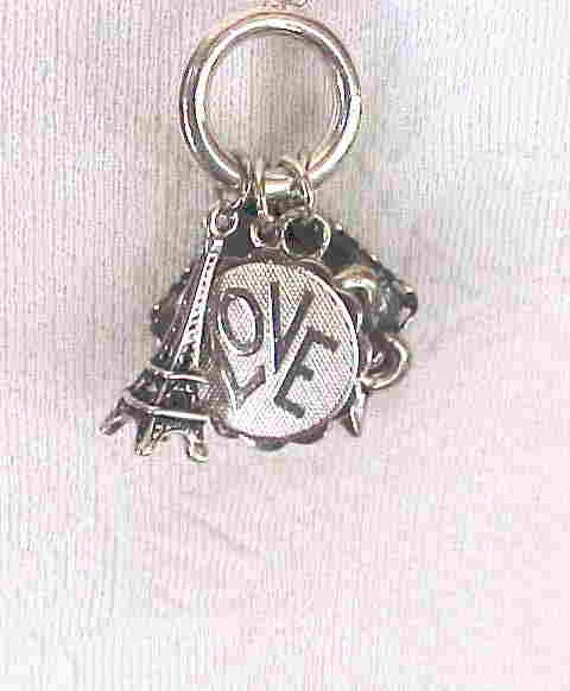 On Sale, was 14.95--CHARM NECKLACE--PARIS, Eiffel Tower,  Fleur de Lis, Love Charm, Photo Charm, Female Mime--Ooo La La