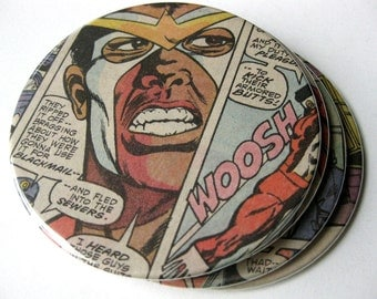 Falcon Coasters // Recycled Comic // Set of 4