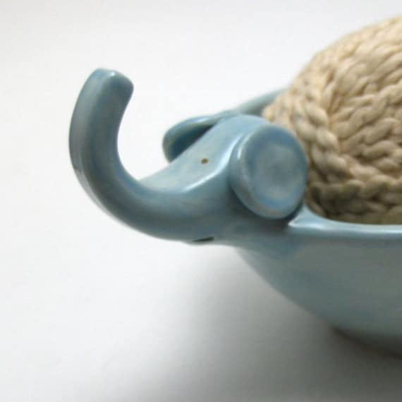 Elephant Yarn Bowl in Robin's Egg Blue