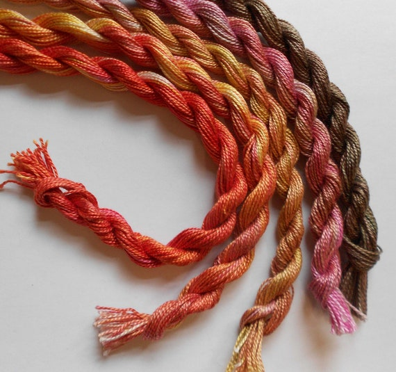 Gold, Rose, Chocolate, Amber, Tangerine, Unique, Perle Fine, 5 pack, Yarn, Only one available, Textile Art, Fiber Art, Serendipity